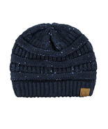 New! C.C Women's Sparkly Sequins Warm Soft Stretch Cable Knit CC Beanie Hat - $13.99
