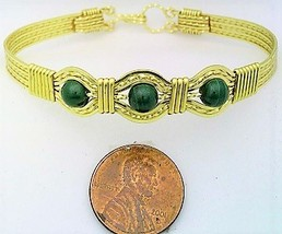Malachite Gold Wire Wrap Bracelet Sz. 7.5 - $31.96