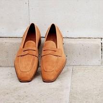 Handmade Men Tan color Suede leather moccasins shoes slip ons, Men casual shoes - $164.99