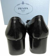 Prada Kiltie Low Heel Patent Leather Pumps Gold Logo Shoes 37 Fringes image 5