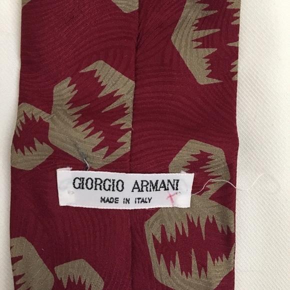 Giorgio Armani Red & Taupe Print men's silk business tie