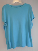 WOMEN'S T SHIRT TALBOT'S Pale Blue Petites Large 100% Cotton Knit Short ... - $9.89
