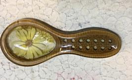 Vintage Gamut Designs Dried Flower Wicker Lucite Spoon Rest Retro Kitchen - $8.00