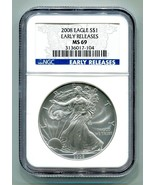 2008 AMERICAN SILVER EAGLE NGC MS69 EARLY RELEASE BLUE LABEL PREMIUM QUALITY PQ - $46.95