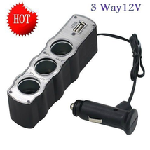 12V 3-Way Car Cigarette Lighter Socket Splitter 5V USB Charger Adapter - $10.19