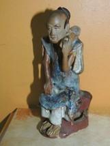 """Chinese Mud Man/ Men Blue& rust Robe 5.5"""" drip glaze marked China Mudman... - $179.99"""