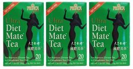 3 Pack Prince of Peace 100% Natural Ultra Diet Mate Tea - 20 Tea Bags