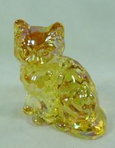 Fluffy Sitting Cat Amber Carnival Solid Glass Kitty Kitten Feline Mosser... - $18.69