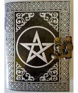Black and Silver Pentagram leather blank book with latch 240 pages - $34.99