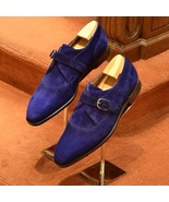 Mens Navy Blue Suede Single Monk Strap Dress Up Handmade Monk Strap Shoes - $156.73