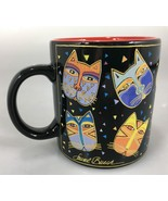 Laurel Burch Wine Things Multi-Color Cat Faces Black Coffee Mug Cup 12 o... - $27.93