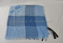NWT! Coach F85653 Lightweight Woven Windowpane Challis Scarf in Sky Blue - €137,85 EUR