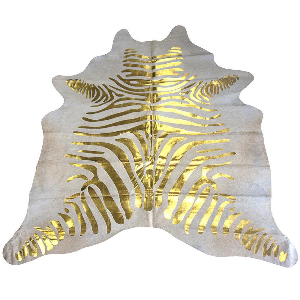 Nuloom Hand Picked Brazilian Black White Zebra Cowhide: GOLD ZEBRA HAIR ON LEATHER BRAZILIAN COWHIDE SKIN RUG