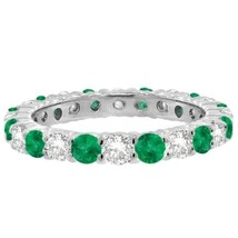 1CT Emerald & Diamond Eternity Ring 14K White Gold - £650.15 GBP+