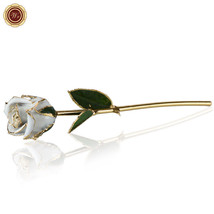 WR Snow White Rose Flower Dipped 24k Gold Long Stemmed Wedding Decor Gir... - $31.10