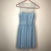Rodarte for Target Dress 1 Blue Lace Sheer Neckline Keyhole Back Polka D... - $34.65