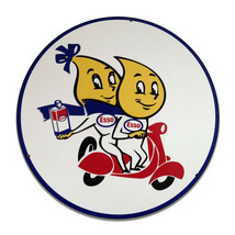 Vintage Esso Oil Garage Sign Keychain Key Holder Key Round MDF Wood Sign - $29.65