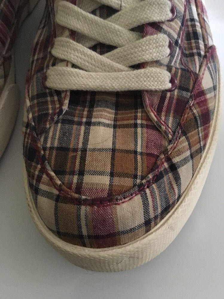 Polo Ralph Lauren Mens Plaid Maroon Blue Khaki Canvas Sneaker Size 12D