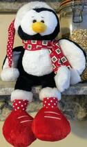 "Ganz Winter Friends Penguin Plush 14"" Christmas Toy Hat Scarf Soft Shelf Sitter - $35.09"