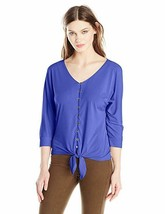 NOTATIONS WOMENS DOLMAN SLEEVE BUTTON TIE FRONT TOP SHIRT BLOUSE BLUE KI... - $17.99