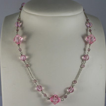 .925 RHODIUM SILVER NECKLACE WITH PINK CRYSTALS image 1