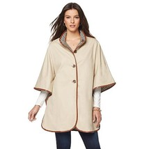 JEFFREY BANKS Size S Jacket High Neck Poncho with Contrast Lining TAN - $73.76