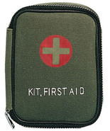 Olive Drab Military Zipper First Aid Kit with Supplies - $10.99