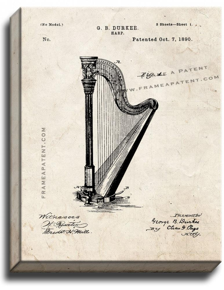 Primary image for Harp Patent Print Old Look on Canvas