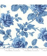 Regency Blues~Blue Roses on Off White Cotton Fabric by Moda Fabrics - $12.82