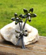 Vintage Green Marquise Rhinestone Flower Brooch - $545.00