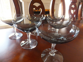6 Fostoria Debutante Gray Smoke Clear Champagne Goblet/Tall Sherbet - $38.65