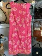 LILLY PULITZER Pink & Yellow Floral Print Linen/Cotton Blend Dress Sz 4 ... - $85.04