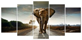 Wieco Art Elephant Canvas Prints Wall Art Animals Pictures to Photo Pain... - $48.23
