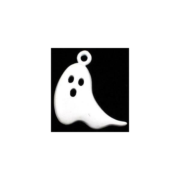 GHOST EPOXY ENAMELED FINE PEWTER CHARM PENDANT 20mm x 22mm x5mm