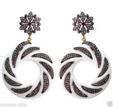 Ruby Gemstone Carved Onyx 2.8ct Diamond Pave 14k Gold Dangle Earrings 92... - $1,434.06