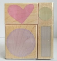 Hero Arts Circles and Hearts Fancy Notes Wood Mounted Stamps LL871 New  - $7.20