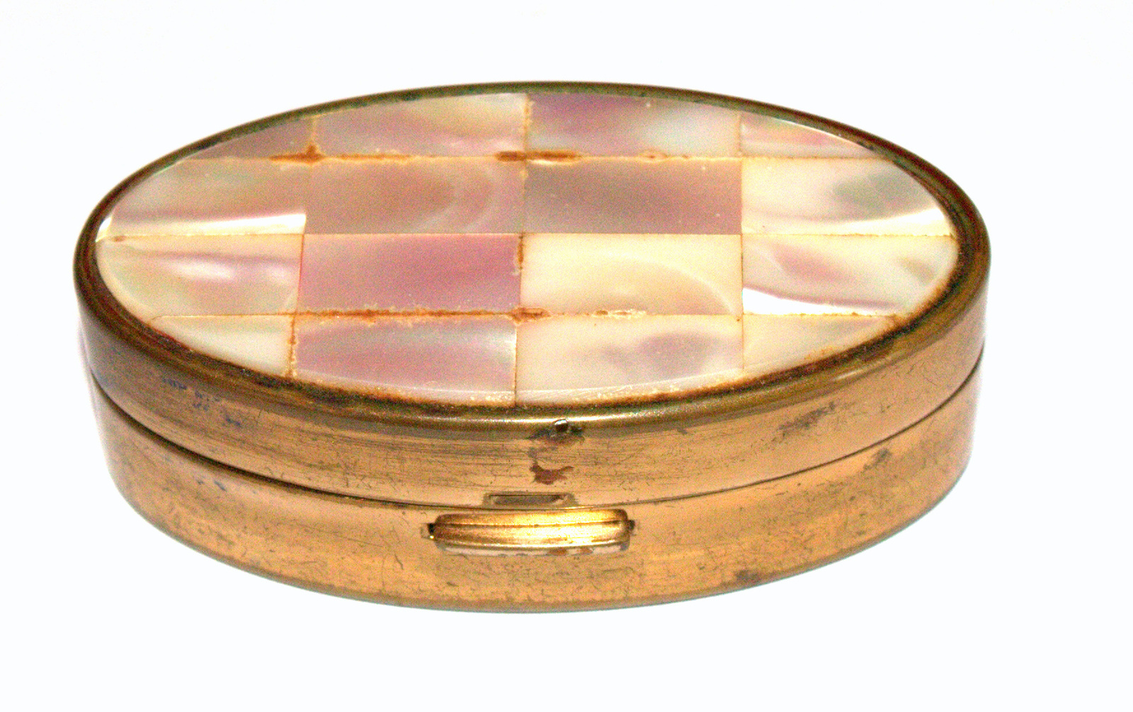 Vintage Max Factor Trinket Snuff Pill Lipstick Box Brass Mother of Pearl