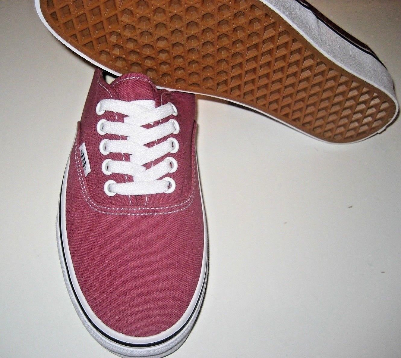 Vans Authentic Mens Dry Rose True White canvas Skate Boat shoes Size 8 NWT   image 3