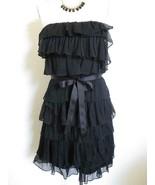 J. Crew Tiered Ruffle Strapless Dress 6 Black Silk Crinkle Cascade Chiffon - $29.99