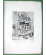 ORIGINAL ETCHING Print - ROUEN Tombs of Cardinals d'Amboise in Cathedral - $13.50