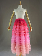 Multi-Color Layered Tulle Skirt High Waisted Tiered Tulle Skirt Outfit image 8