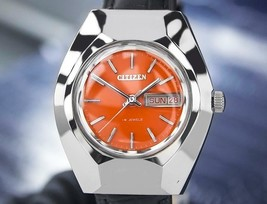 Citizen Day Date 19 Jewels Automatic Mens Vintage Orange Dial Watch c 19... - $749.00