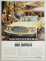 1960 Print Ad Chrysler 4-Door Cars Family at New Home in Woods - $11.56