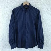 Neiman Marcus Striped Dress Shirt Black Blue Button Down Cotton Mens Siz... - $29.69