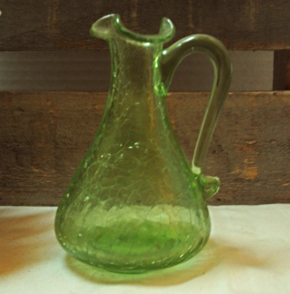 Mid Century Glass Vases Crackle Glass Green, Blue, Red Hand Blown Art Glass