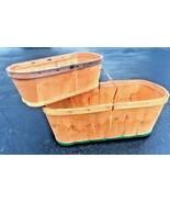 2 Vintage Wooden Berry Fruit Picking Boxes Primitive Baskets Weaved Larg... - $39.59