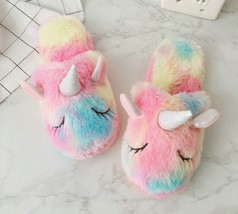 Cute Rainbow Unicorn Plush Slippers With Horn Indoor Home Shoes Non-slip... - £15.56 GBP