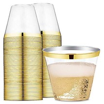 9 oz Gold Rimmed Plastic Cups Clear Plastic Tumblers - Disposable Hard P... - $17.23