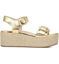 Naturalizer 27 Edit Ankle Strap Espadrille Platform Sandals Jovana US 7.5N Gold - $53.94