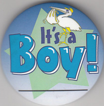 """It's A Boy Birth Announcement Button Pin, 2"""" x 2"""", New, Pin Back - $4.99"""